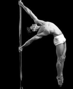 male Pole Dancer on All Star Stages Portable Dance Pole