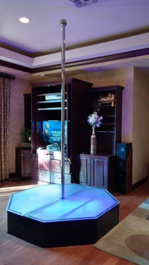 All Star Stages Dark Knight Portable Stripper Pole in Bedroom