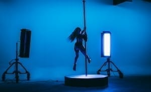 Dancer Performs on All Star Stages 10.5 ft portable dance pole o