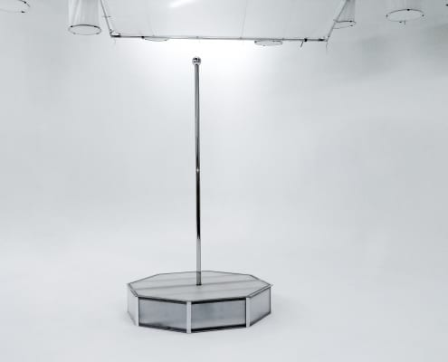 White portable stripper pole all star stages on white cyclorama