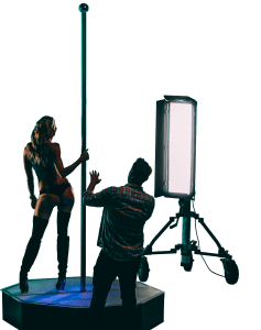 Cute Model Shows Her Backside While Being Directed on an All Star Stages Portable Stripper Pole Cropped-