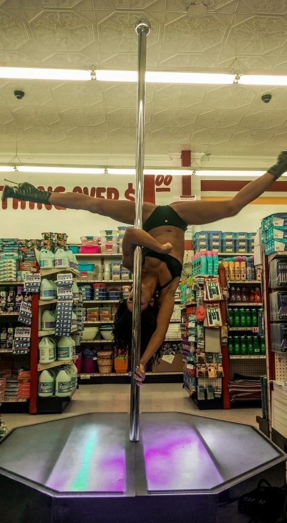 Nicole the pole williams on all star stages portable stripper pole for film shoot rift-