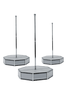 White portable stripper pole all star stages on white cyclorama production shoot-1500px