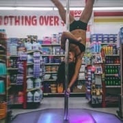nicole williams on all star stages portable dance pole in 99 cen