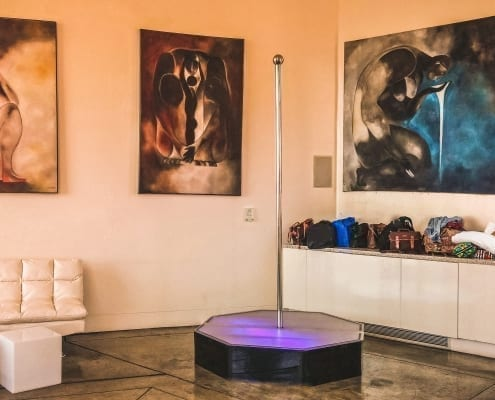 all star stages portable pole dance rental in los angeles mansion ava-