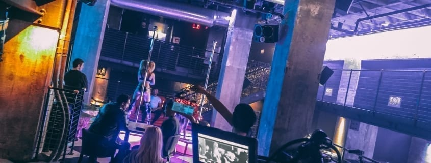 all star stages portable stripper poles on a film shoot in novem