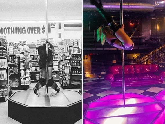 all star stages split pic with different performers on the innovative portable pole dance apparatus