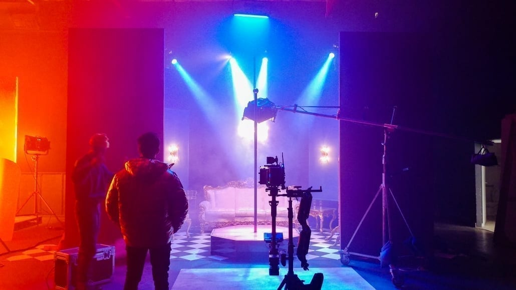 Tyga YG Blueface Bop Stripper Pole on set with camera 2